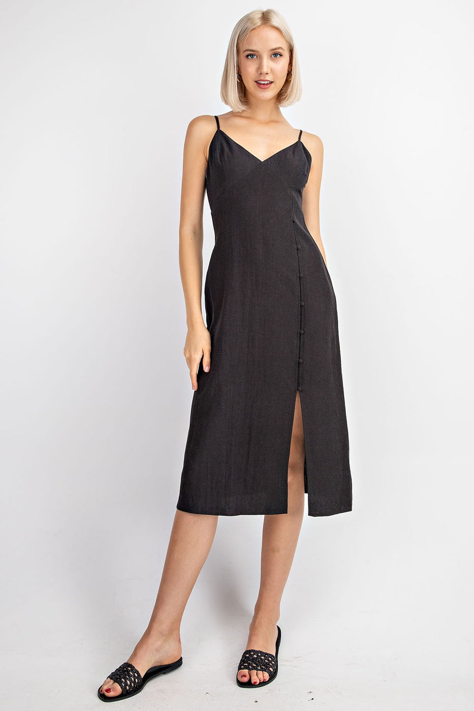 Cami Midi Dress With Button Trim Siin Bees