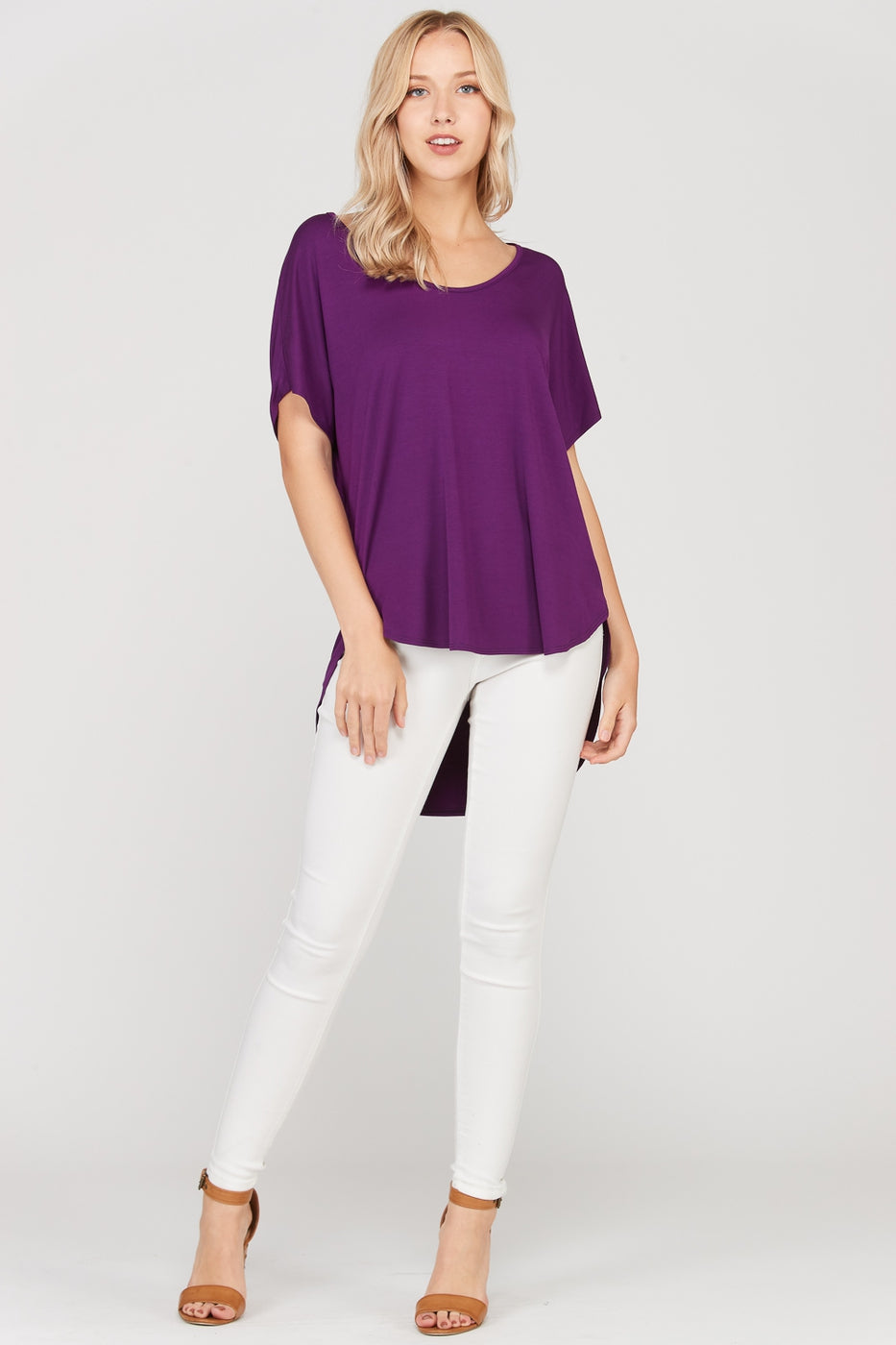 Plum Short Sleeve T-Shirt Loose Fit With Round Neck Siin Bees