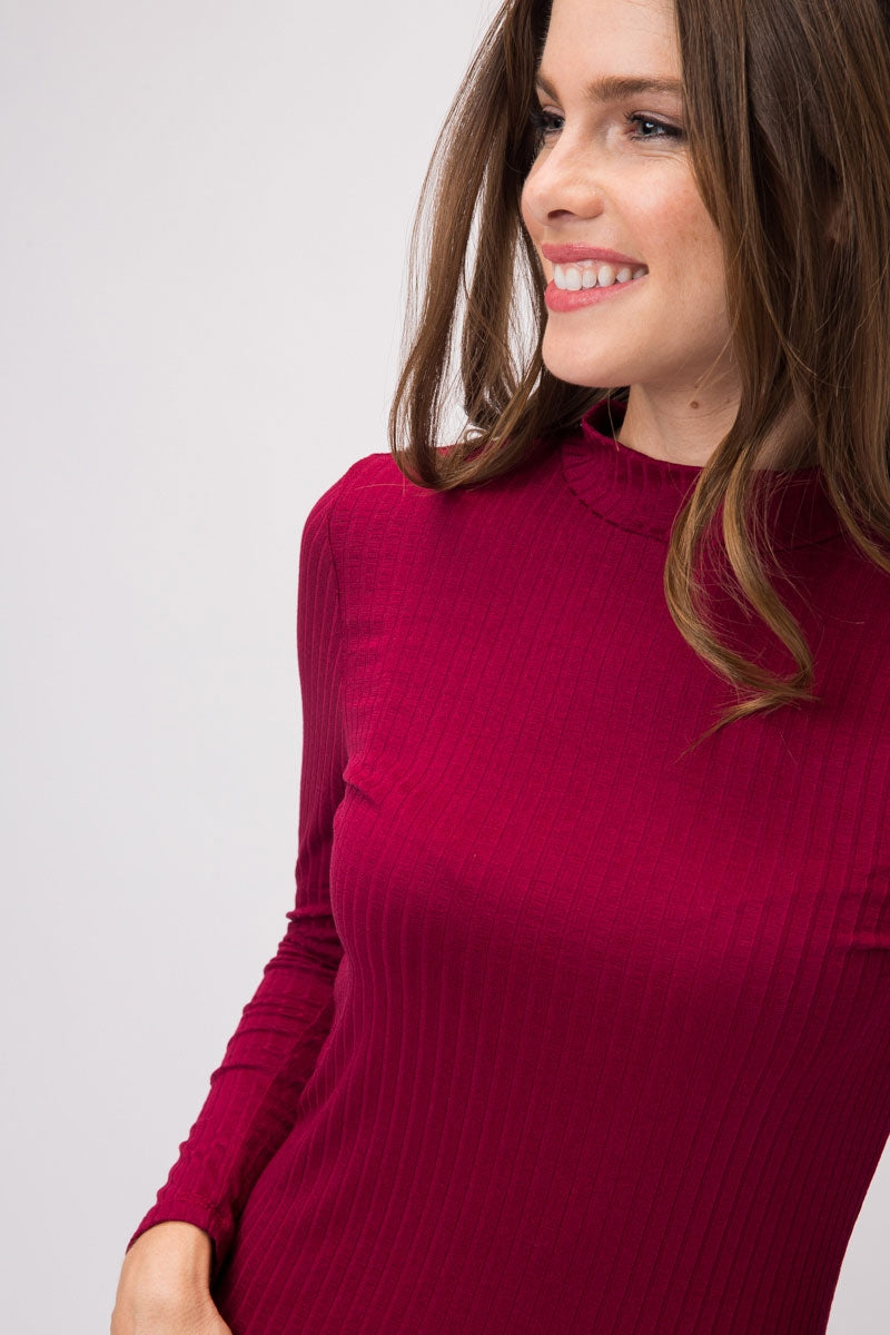 Winey Long Sleeve Light Ribbed Mock Neck Top Siin Bees