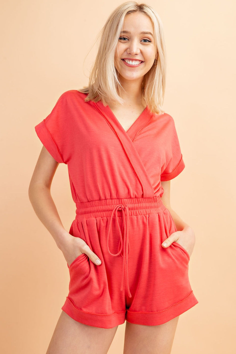 Short Sleeve V- Neck Wrap Romper With Elastic Waist and Drawstring - Siin Bees