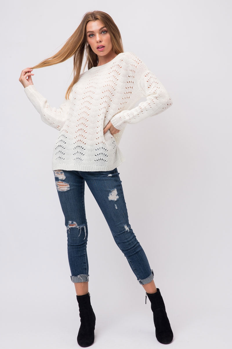 Off White Light Knit Sweater With Leaf Pattern Eyelets Siin Bees
