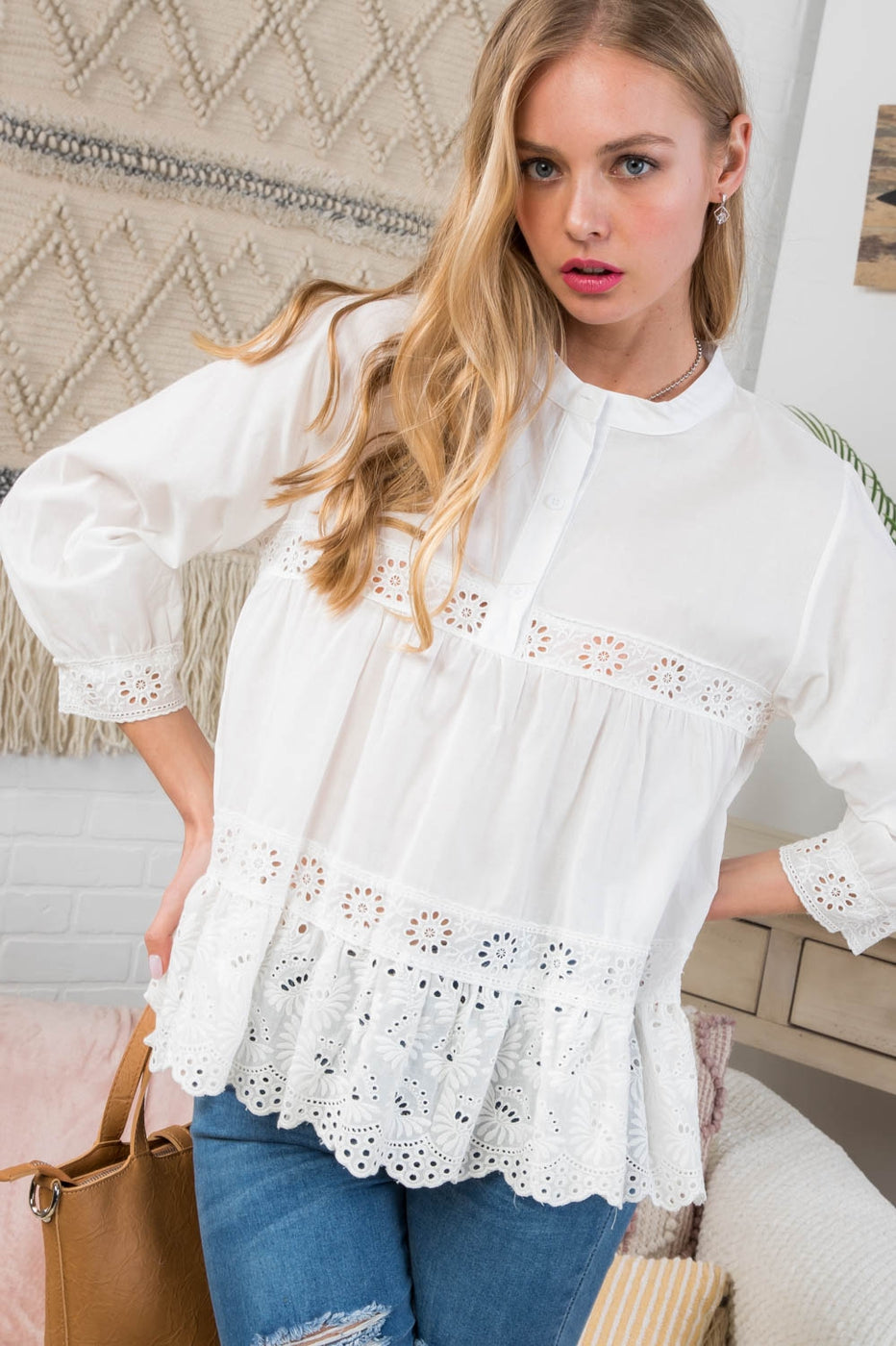 3/4 Sleeve Henry Neck Embroidered Top Siin Bees