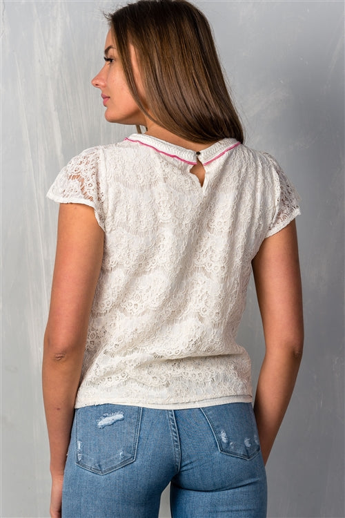 Boho Ivory Lace Overlay Short Sleeve Top Siin Bees
