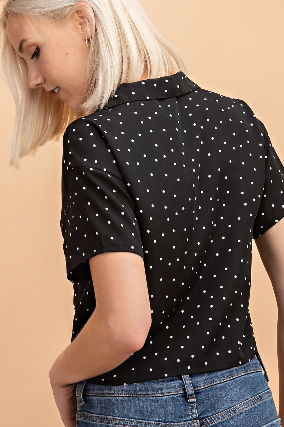 Polka Dot Short Sleeve Button Down Collared Top Siin Bees