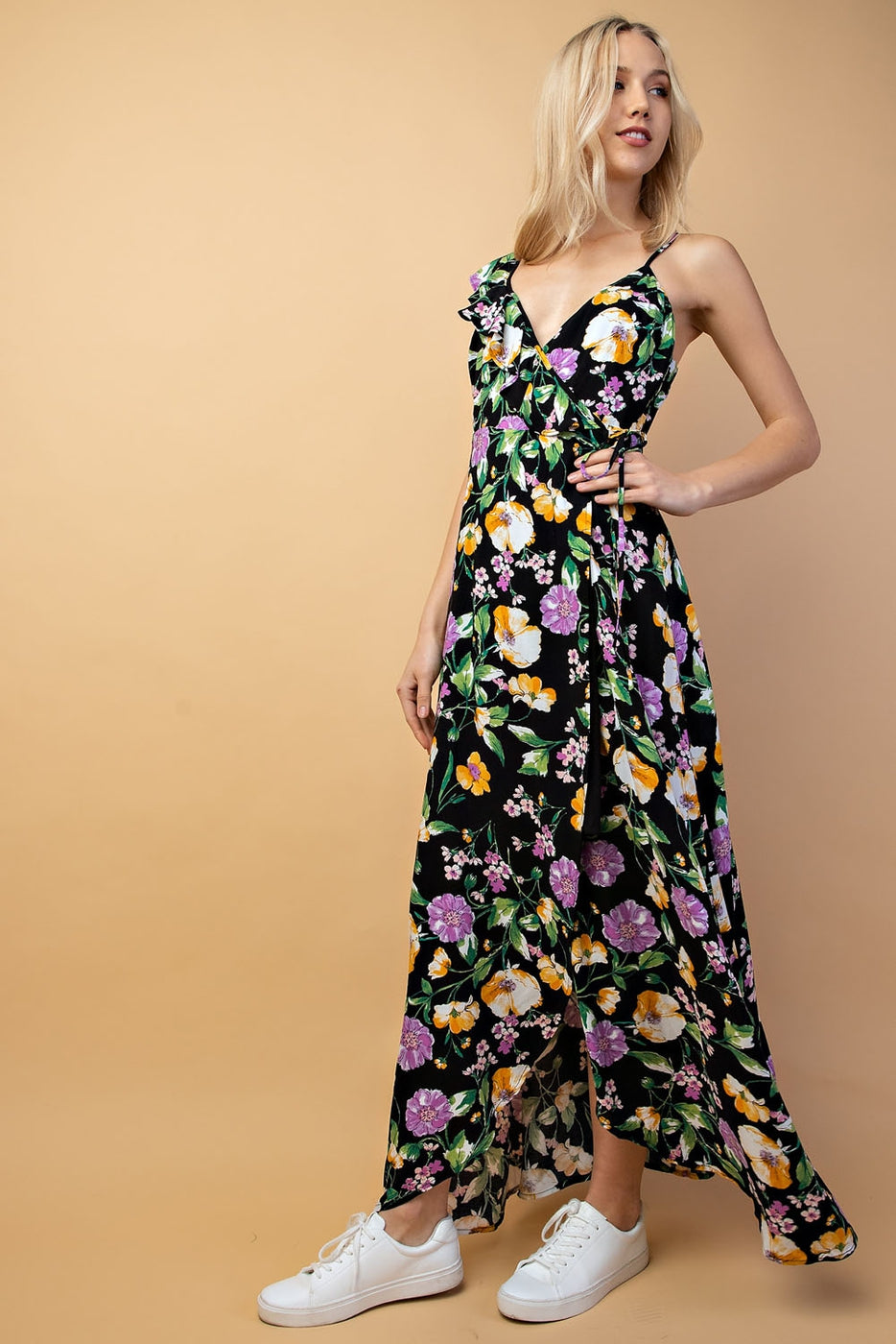 Asymmetrical Shoulder Detail Maxi Dress In Black Floral Siin Bees
