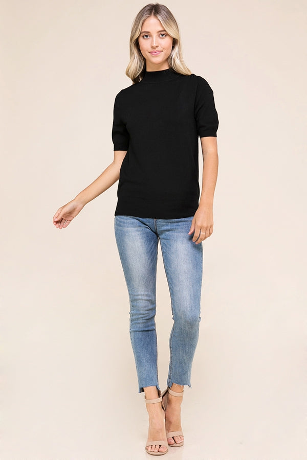 Black Soft Short Sleeve Sweater Top Fitted Siin Bees