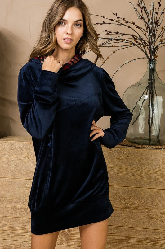 Double Hoodie with String Pockets Soft Velvet Casual Dress Siin Bees