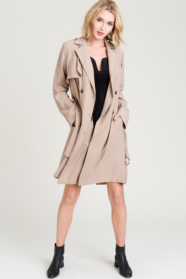 Double Breasted Belted Trench Coat In khaki Siin Bees