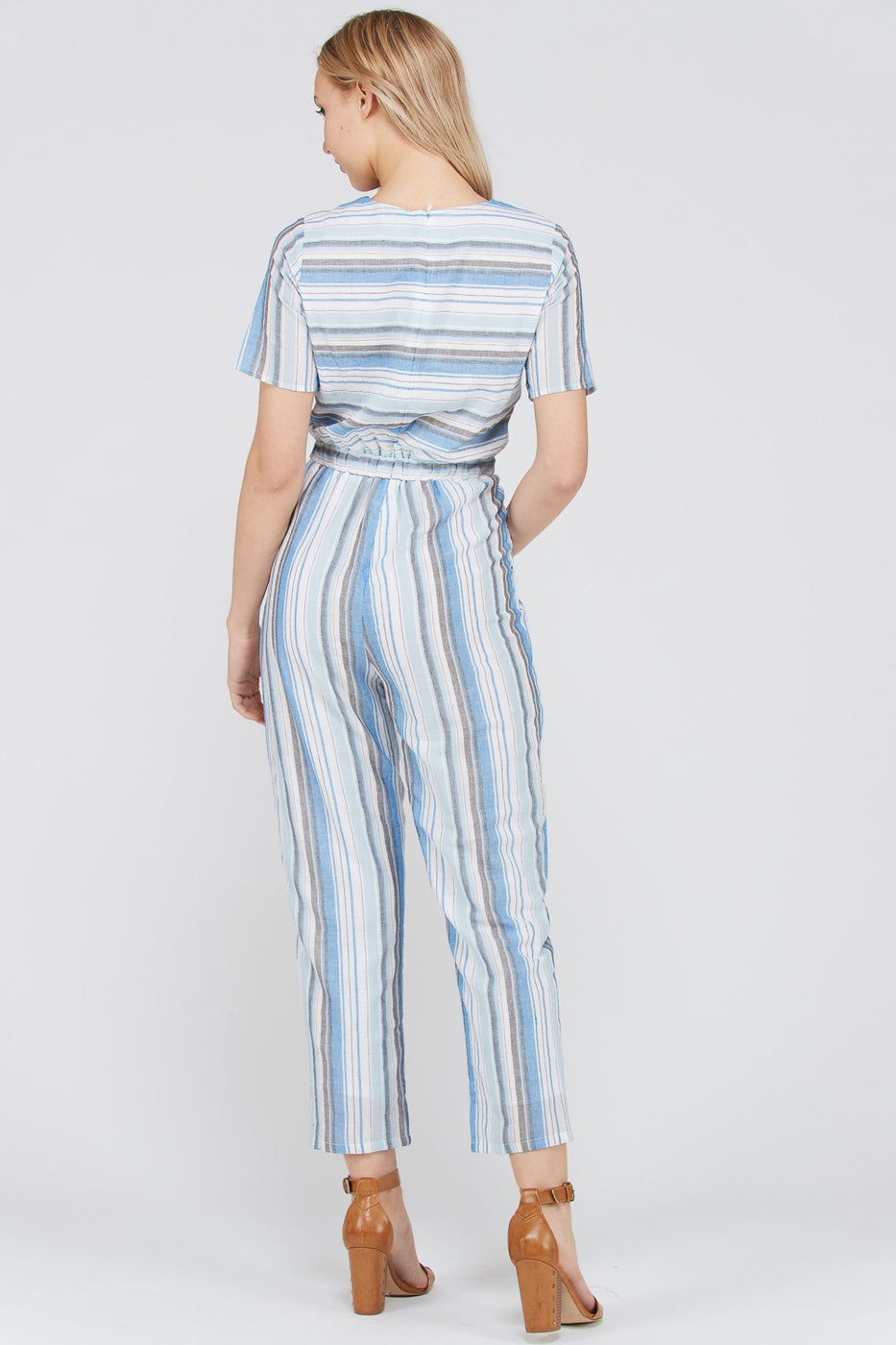 Talia Short Sleeve Jumpsuit Stripe Print Boot Cut In Blue Siin Bees