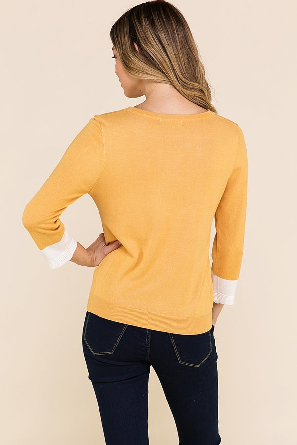 Casual 3/4 sleeve Top Color Block Knit In Mustard Siin Bees