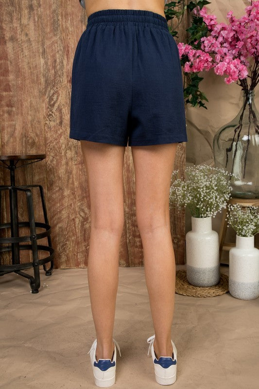 Waist Elastic Band with Front Tie Side Pockets Short Pants Siin Bees