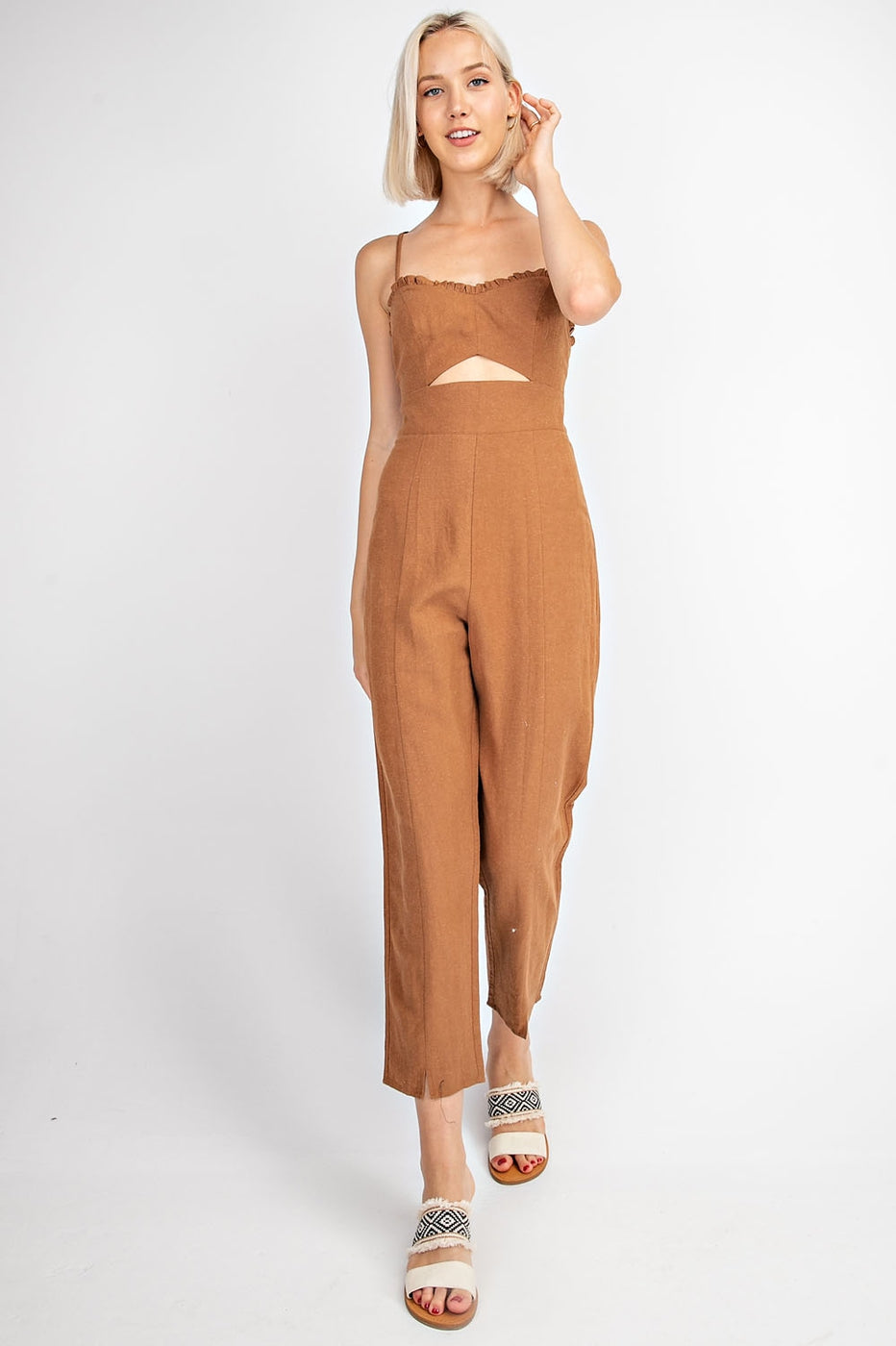 Eden Jumpsuit With Linen In Caramel Siin Bees