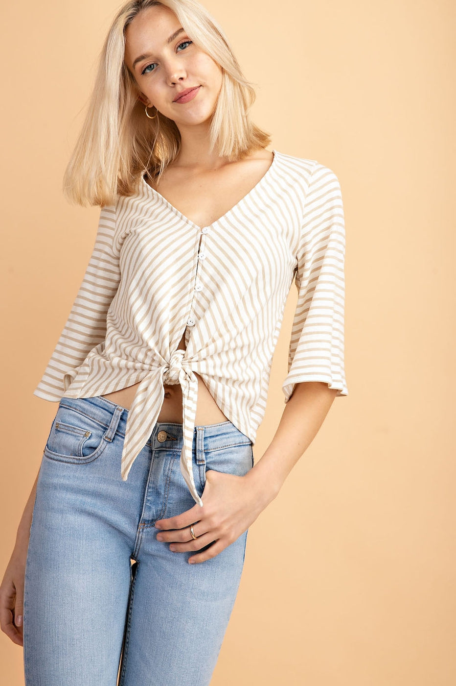 V-Neck Stripe Top With Front Tie Detail Siin Bees