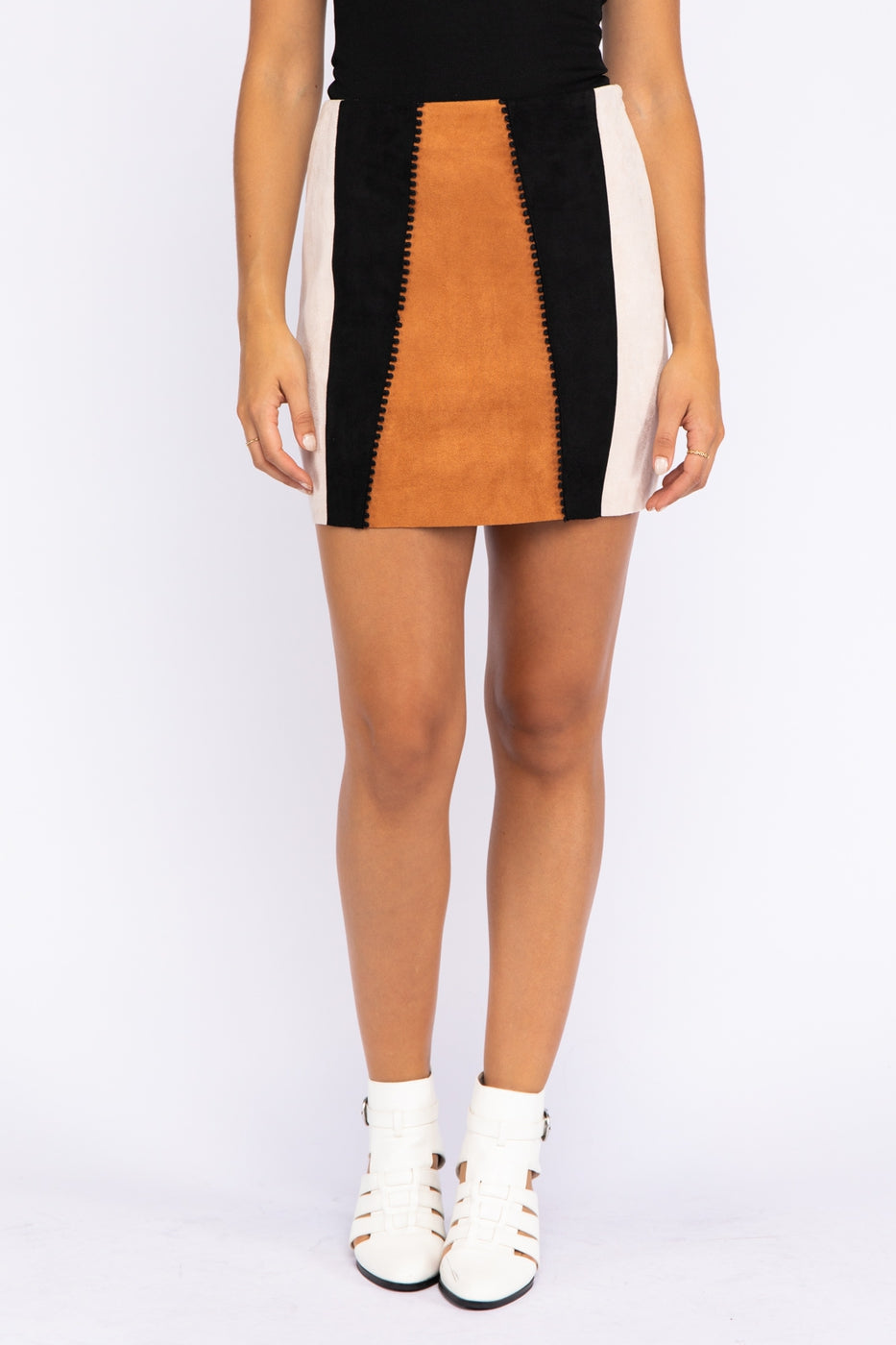 Suede Colorblock Mini Skirt In Brown Multi Siin Bees