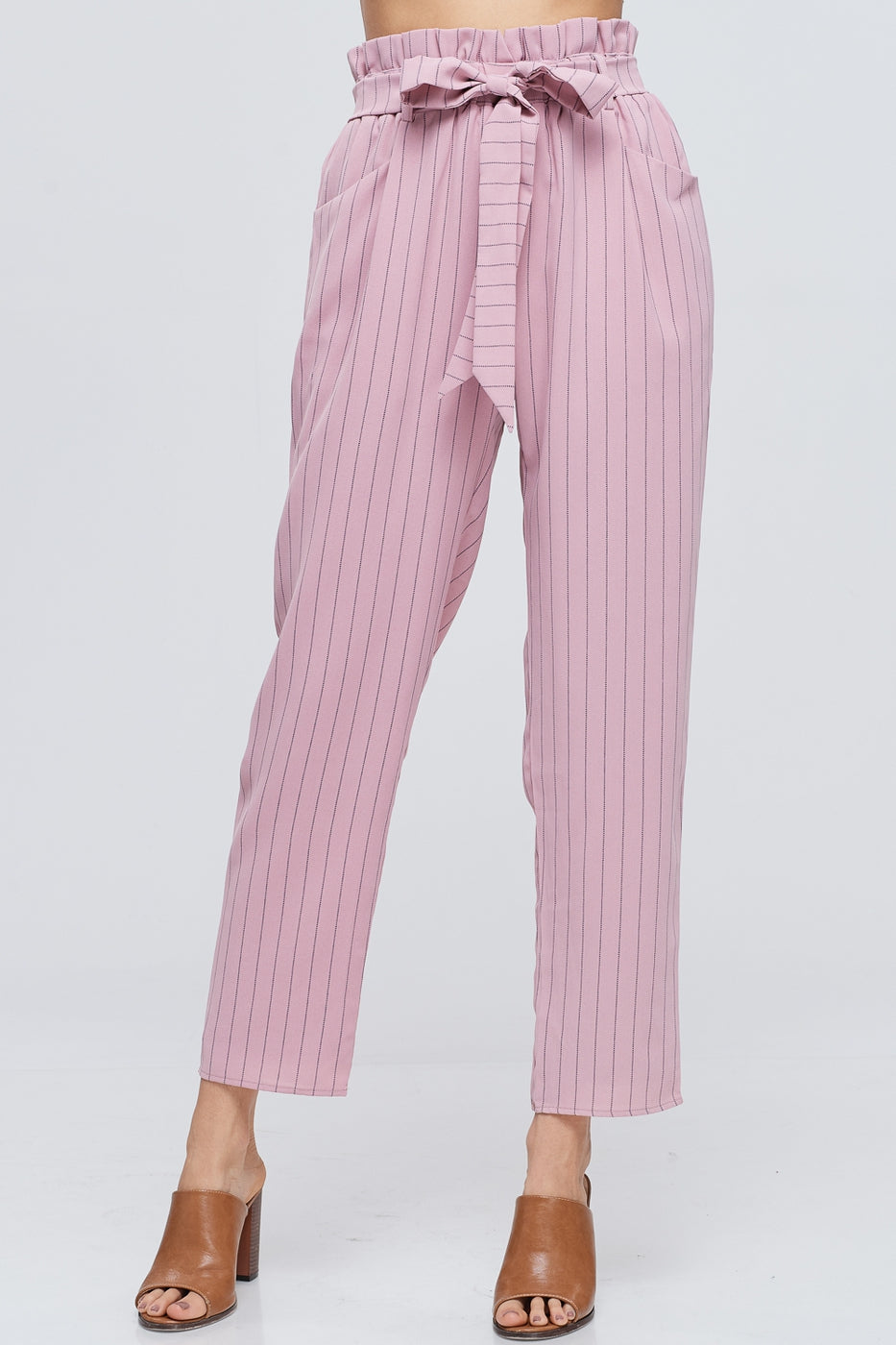 Pretty Stripe Paperbag Pants With Waist Tie In Mauve Siin Bees