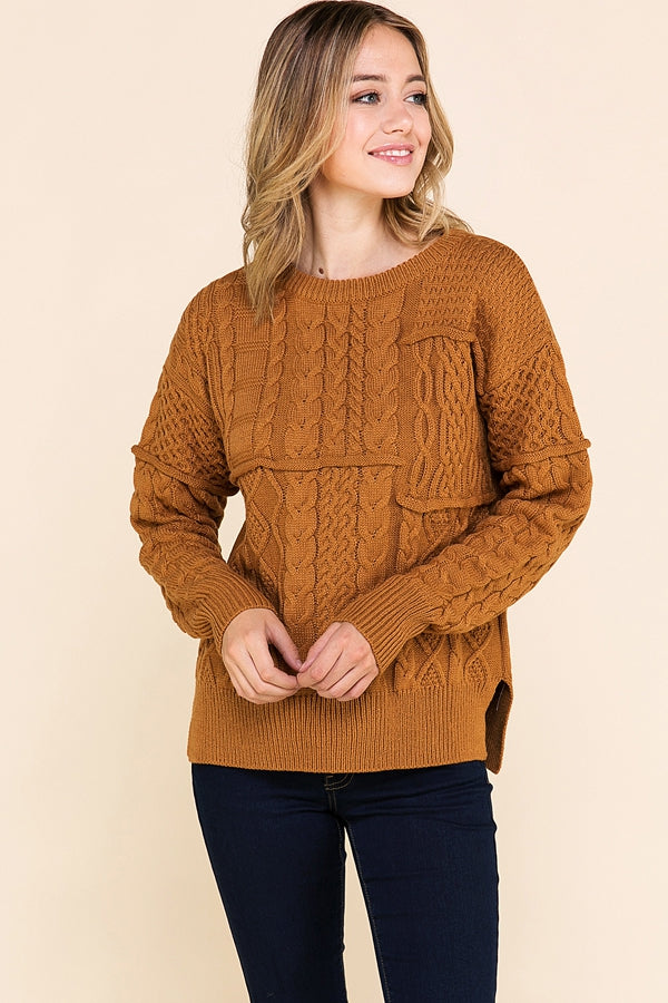 Long Sleeve Sweater Knit Top In Camel Siin Bees