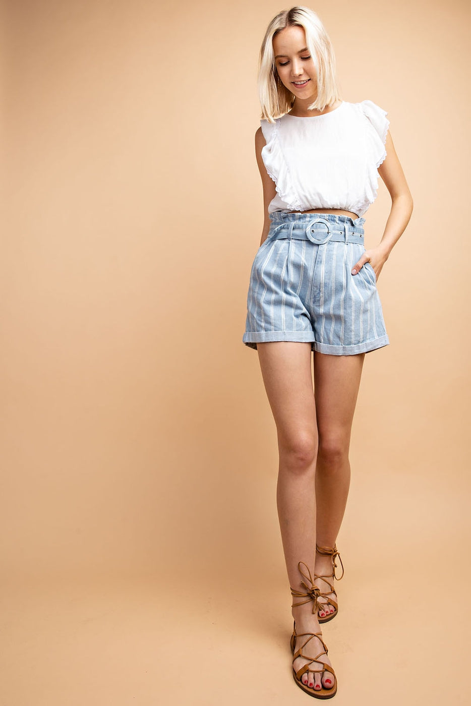 Grid Print High Waisted Belt Shorts In Denim Siin Bees