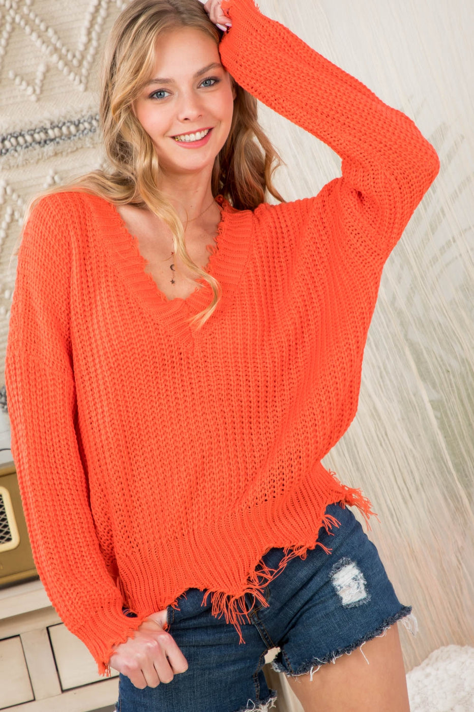Neon Orange Sweater With Frayed V Neck Siin Bees