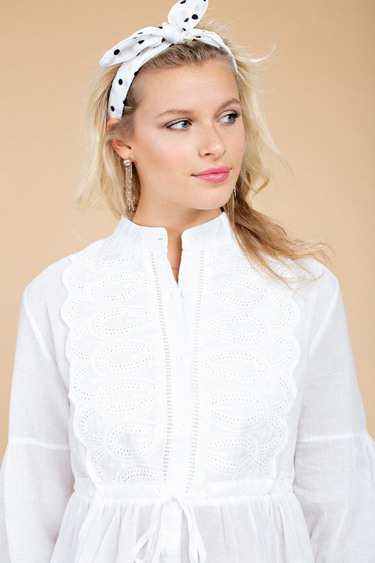 Btn Close Front Embroidered Babydoll Woven Bishop Sleeve Top With Tie Front Accent Siin Bees