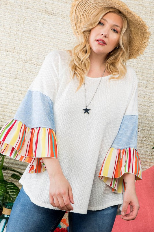 3/4 Raglan Contrast Detail Ruffle Sleeve Top In White Siin Bees