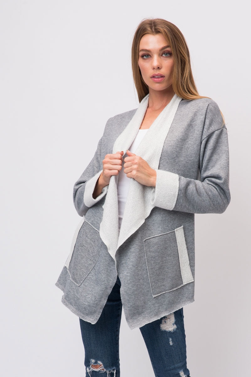 Heather Grey French Terry Rough Cut Open Cardigan With 2 Front Pockets Siin Bees