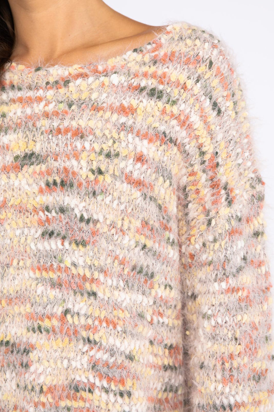 Wrap Sweater With Multi Yarn In Beige Multi Siin Bees