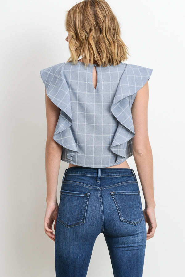Ruffled Windowpane Crop Top Siin Bees