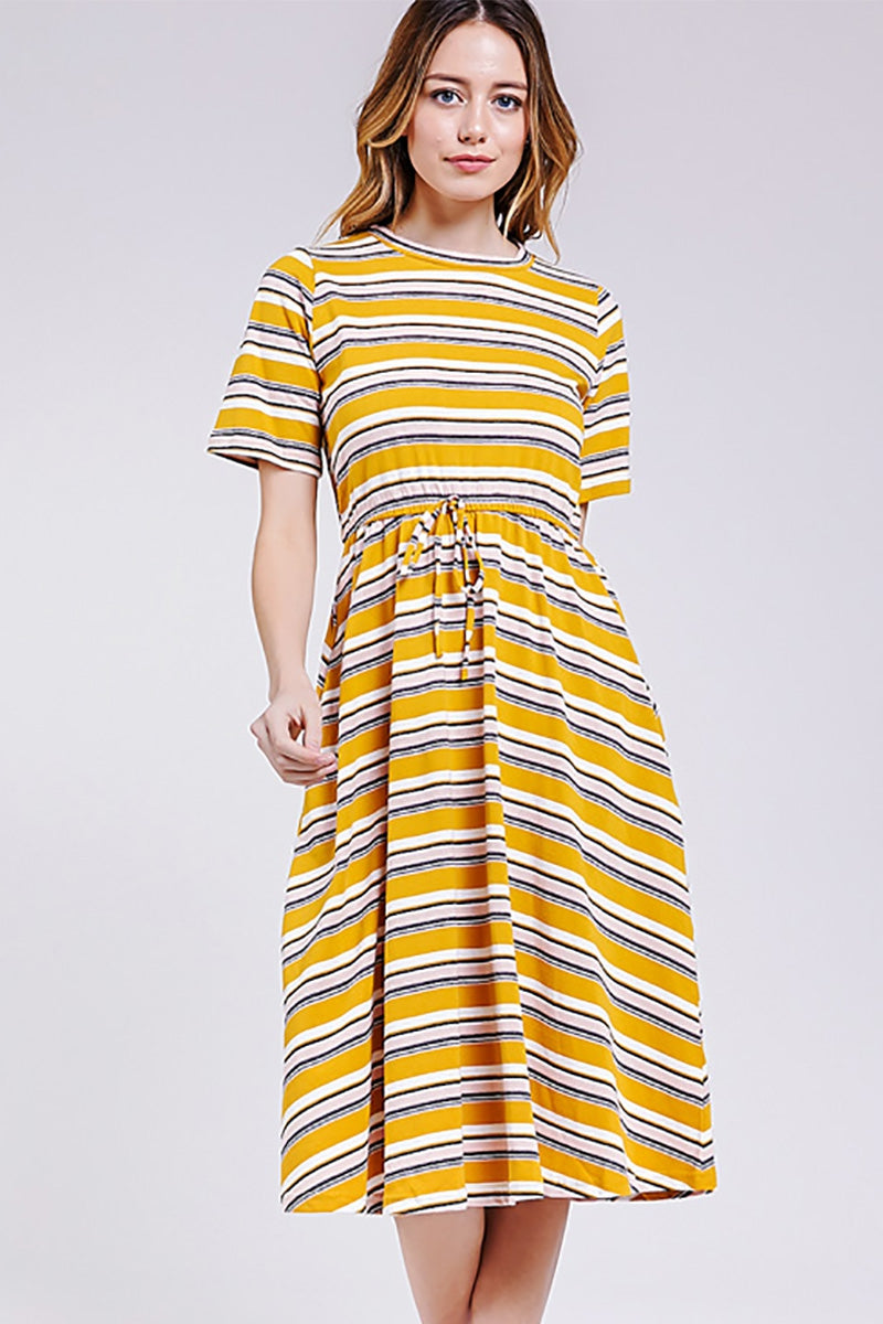 Arya Midi Dress Adjustable Waist Knit IN Mustard Siin Bees