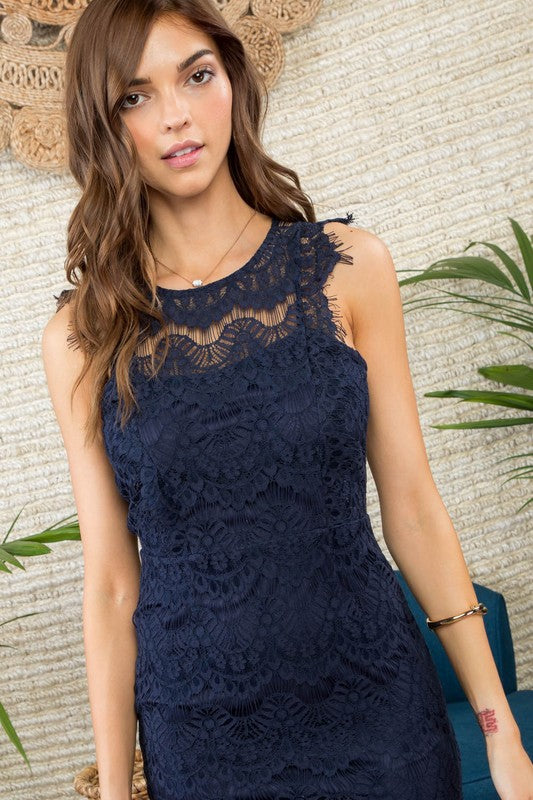 Natalie Scallop Edge Lace Trim Back Open with Zipper Dress Siin Bees