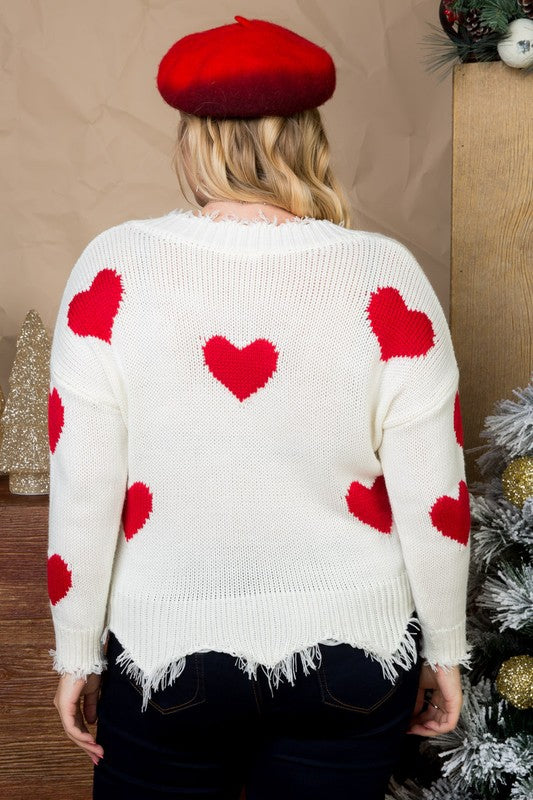 Off white Long Sleeve Sweater With Plus Size Red Heart Print Distressed V Neck Siin Bees