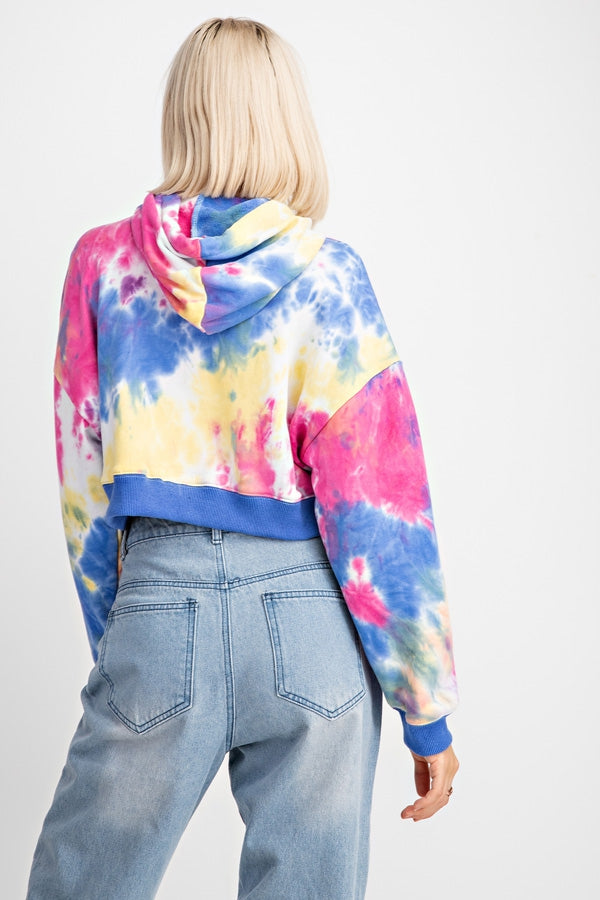 Crop Fit Multi Color Sweatshirt With Tie-Dye Hoodie Siin Bees