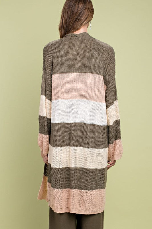 Multi Stripe Print Long Sleeve Open Front Sweater Cardigan With Pocket Siin Bees