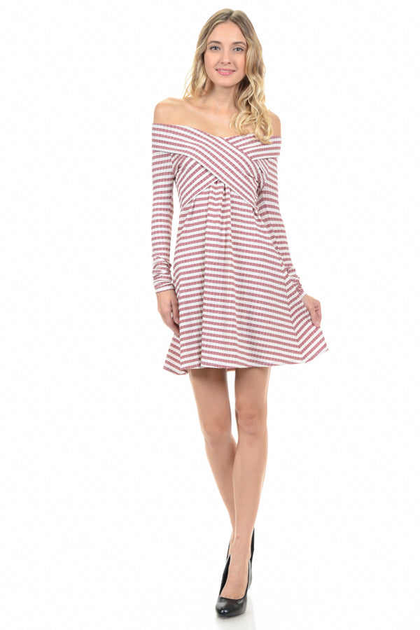 Elise Red Off Shoulder Dress Knit Stripe Siin Bees