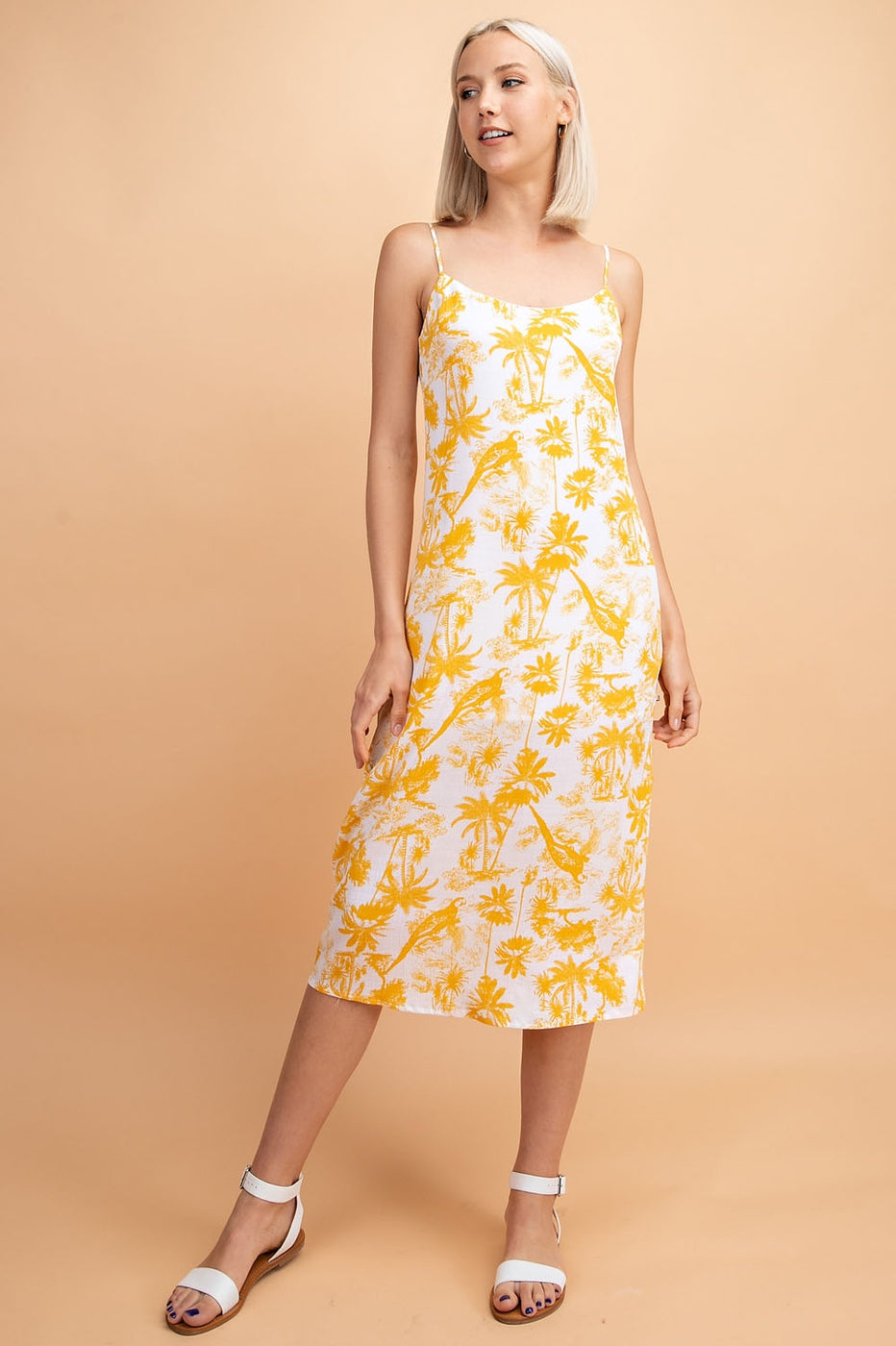 Camila Midi Dress With Side Slit Detail Print Siin Bees