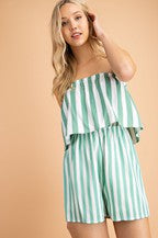 Isabelle Romper With Mixed Striped Tubetop In Green Siin Bees