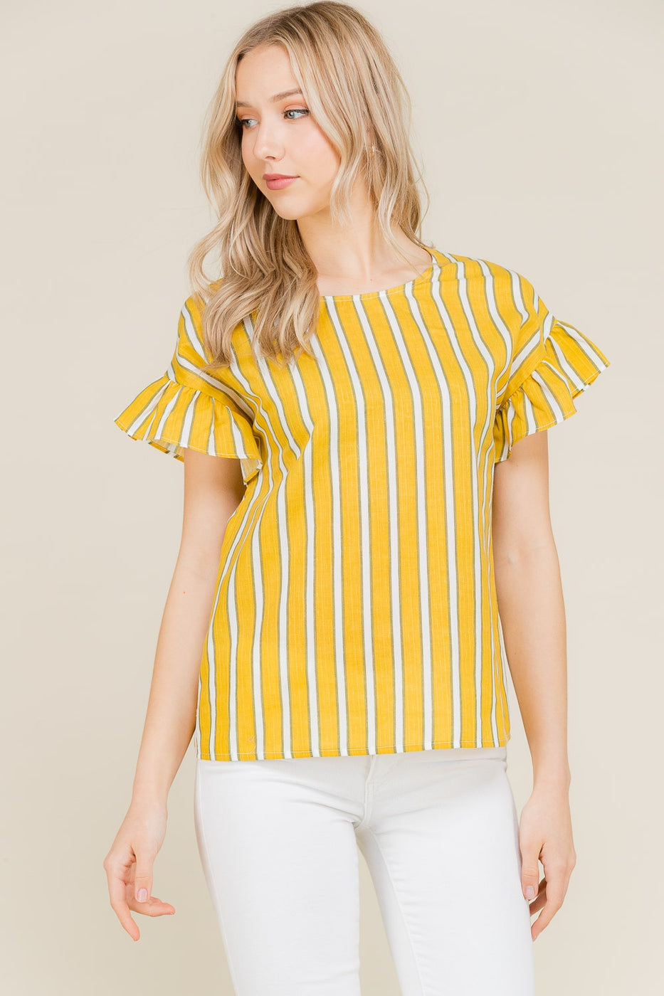 Short Sleeve Stripe Top Ruffle In Mustard Siin Bees