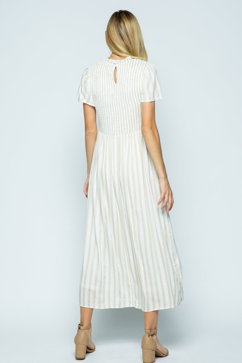 Tina Midi Dress with Smocking Detail Siin Bees