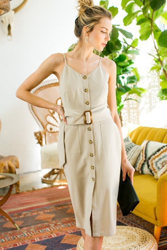 Front Button with Waist Belt Dress Siin Bees