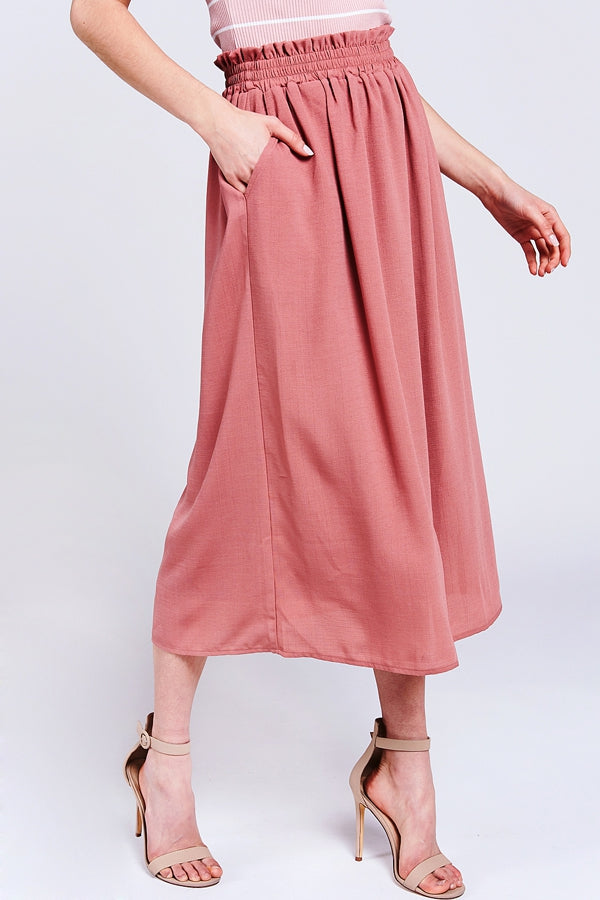 Pretty Jayda Midi Skirt Elastic Waist With Pockets In Mauve Siin Bees