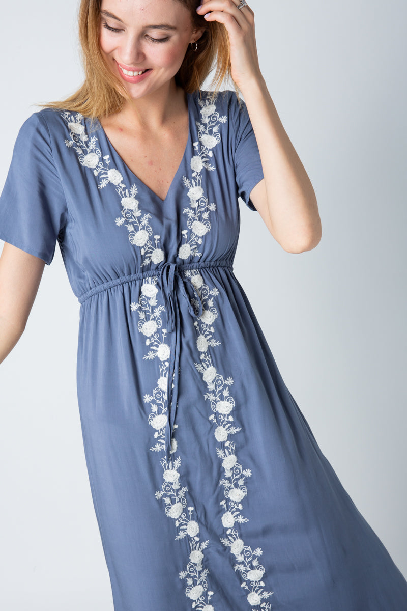 Julia Maxi Dress Floral Detail With Waist Tie In Blue Siin Bees
