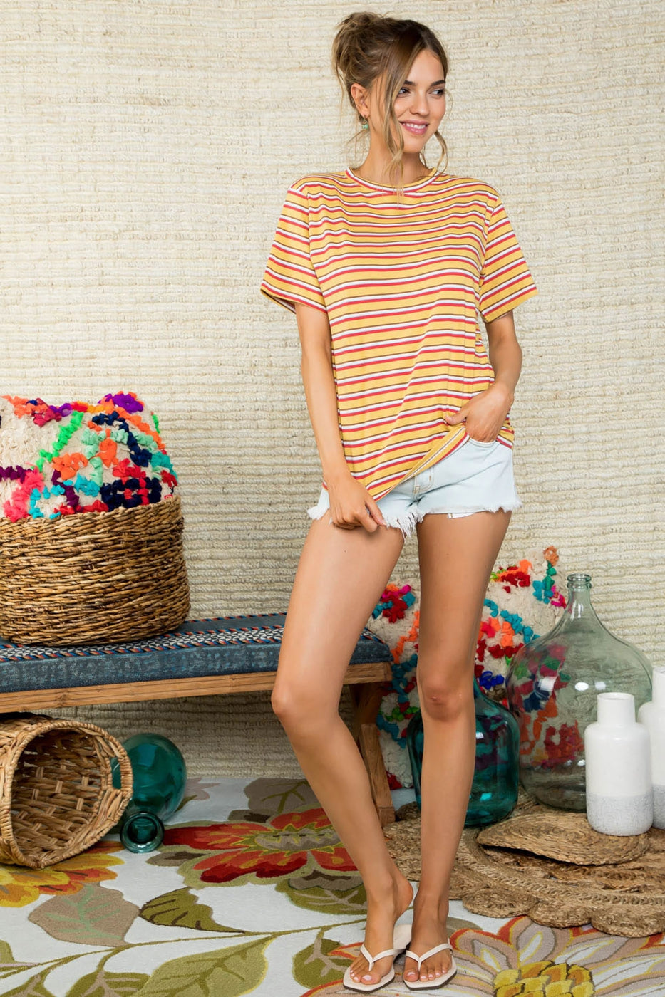Round Neck Short Sleeve Multi Stripe Printed Knit Top in Mustard Combo Siin Bees