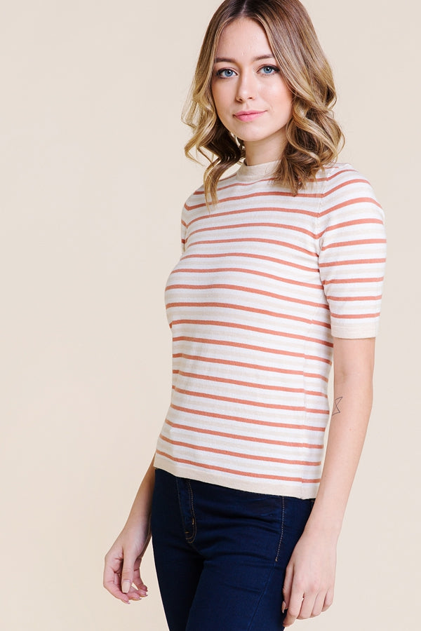 Wonderful Striped Multi Color Sweater Knit Top In Rust Siin Bees