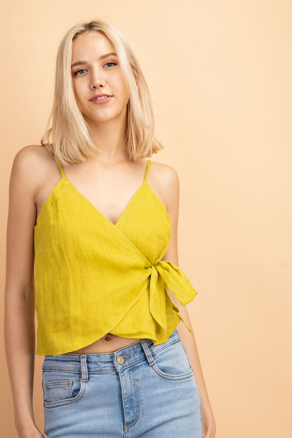 Spaghetti Strap Linen Wrap Top In Lime Siin Bees