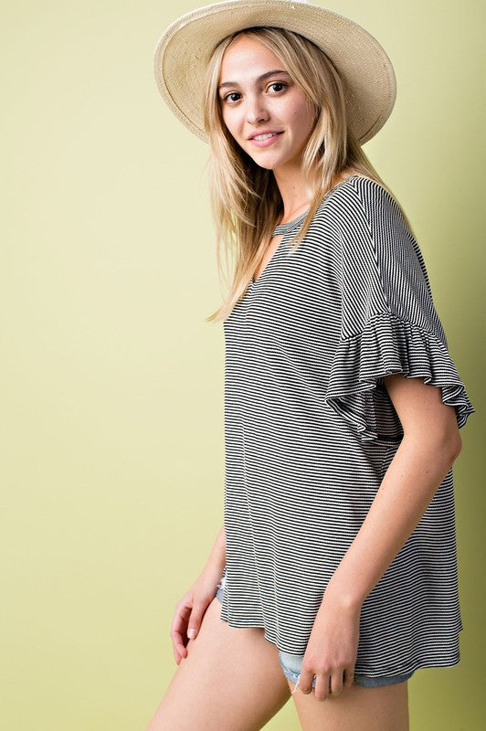Front Cut out Loose Fit Top with Ruffle Sleeve With Side Slit in Black White Stripe Siin Bees