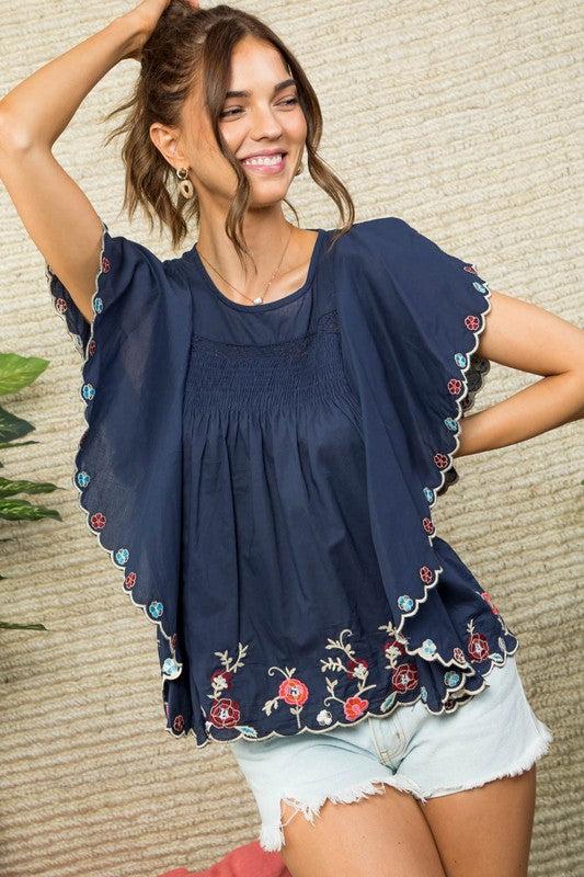 Round Neck Ruffle Sleeve Smocking Trim Detail Embroidered Top Siin Bees