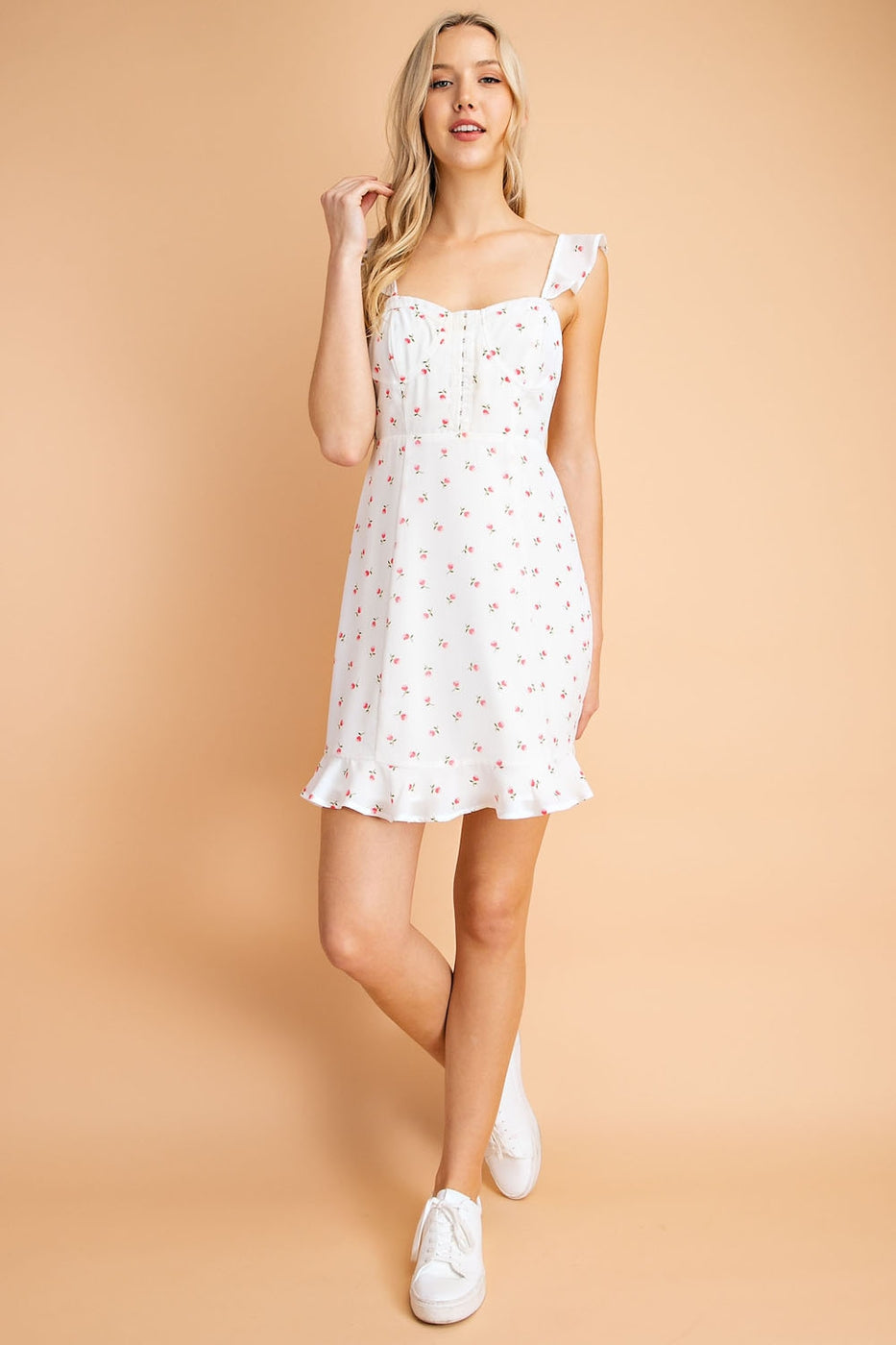 Natalia Mini Floral Dress With Ruffle Strap Corset Top Siin Bees