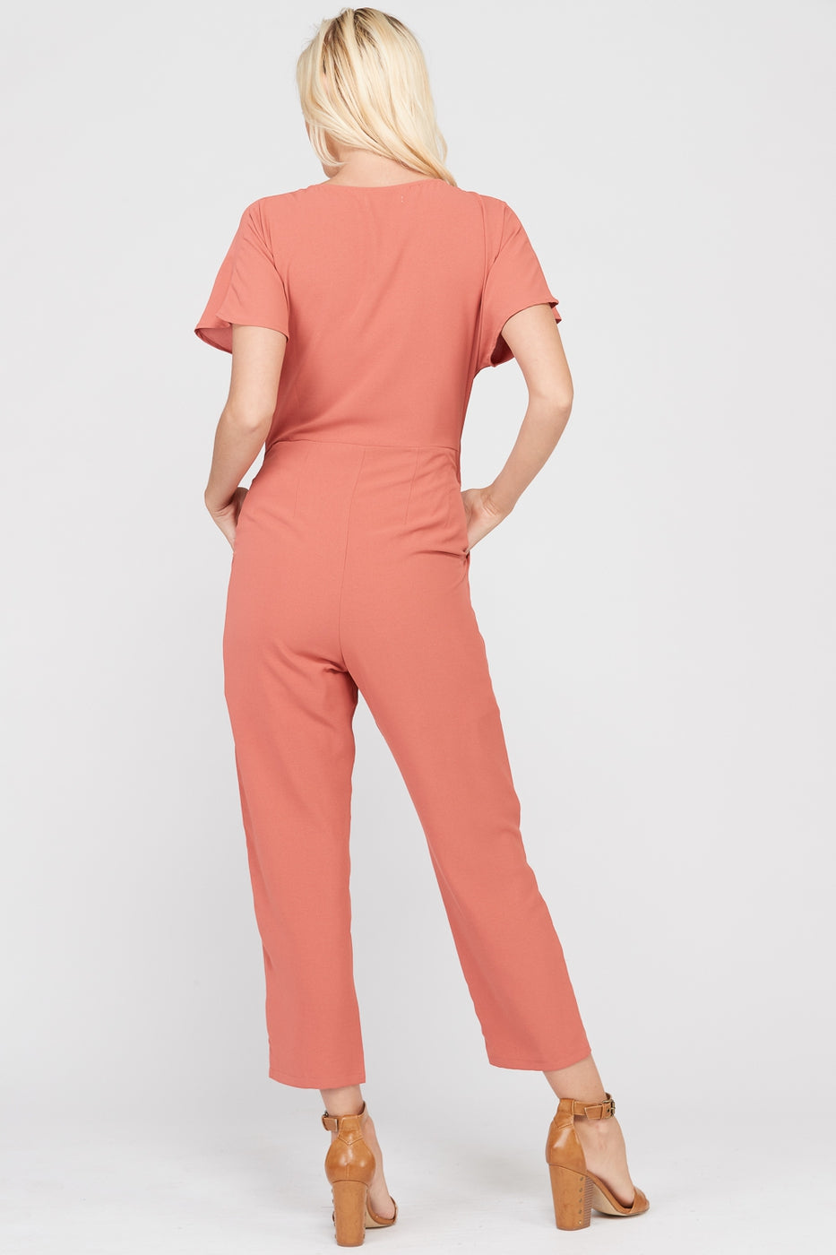 Maggie Short Sleeve Jumpsuit With Front Tie In Marsala Siin Bees