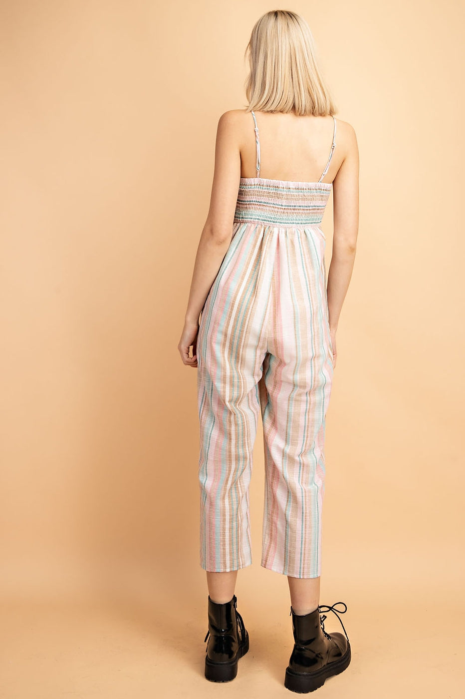 Multi-Stripe Jumpsuit Woven With Ribbon Shaped Front Smocking Back Siin Bees