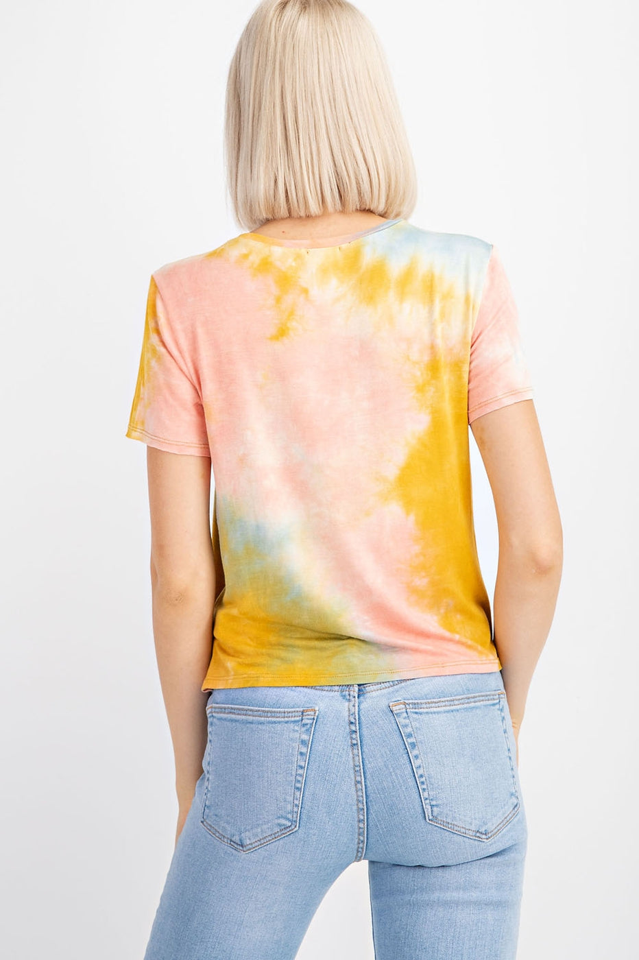 Short Sleeve Tie Dye Top With Front Knot Siin Bees