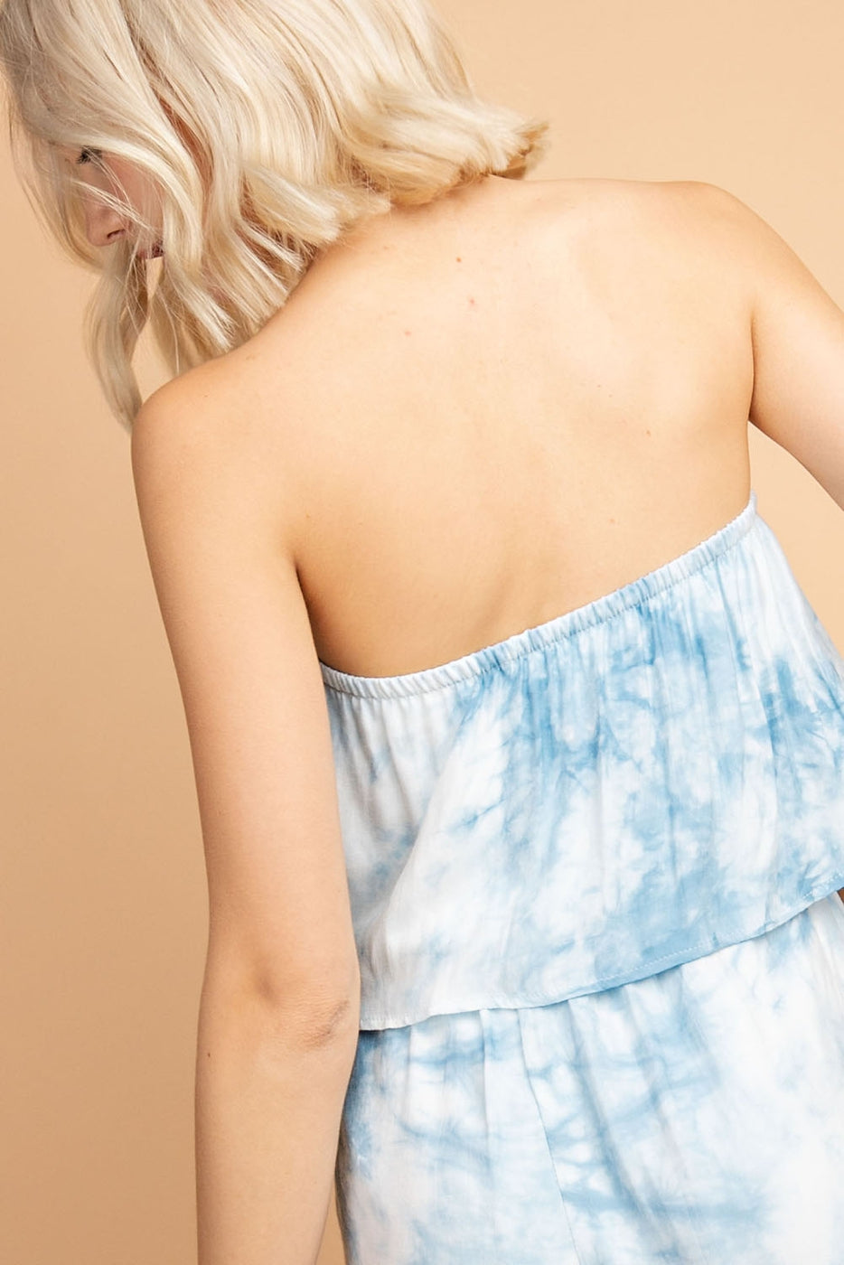 Sleeveless Romper With Bow Detail And Layer In Blue Multi Siin Bees